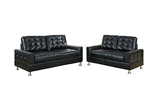 Amazoncom poundex bobkona 2 piece bonded leather sofa for Poundex bobkona atlantic 2 piece sectional sofa