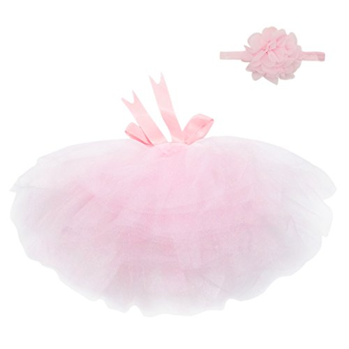 Aivtalk Newborn 4-12 Months Headdress flower+bowknot Tutu Clothes Skirt for Baby Girls Photo Prop Outfits Pink