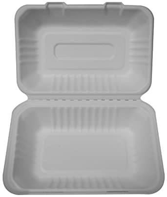 "PrimeWare HL-96 White Molded Fiber Hinged Lid Container, 9"" Length x 6"" Width x 3-3/16"" Height, Hoagie/Single-Section (Case of 250)"
