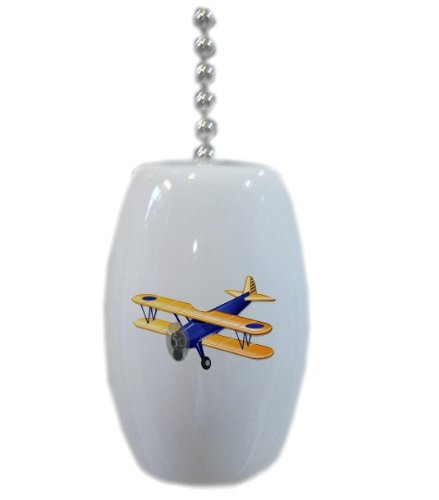 Blue Airplane Biplane Ceramic Fan Pull front-960612