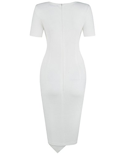 OUGES Womens Deep V-Neck Asymmetrical Fold Sheath Dress, White, Large