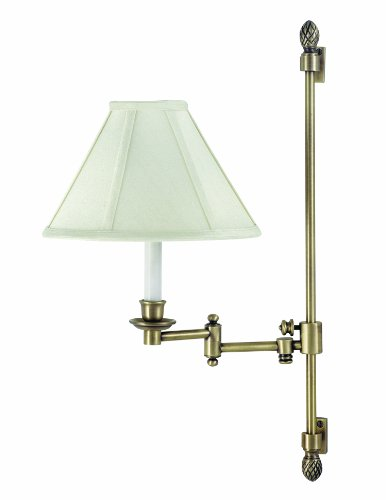 House Of Troy Ll662A-Ab Library Lamp Collection Adjustable Slide Swing Arm Wall Lamp Antique Brass With Off-White Softback Shade