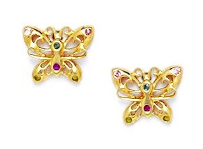14ct Yellow Gold Multicolor CZ Butterfly Screwback Earrings - Measures 7x9mm