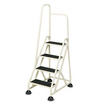 CRAMER Four-Step Stop-Step Folding Aluminum Handrail Ladder, Beige (Case of 2)