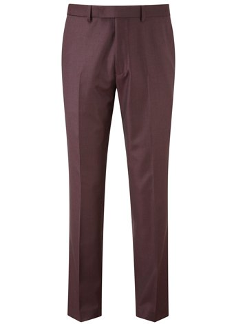 Austin Reed Slim-Fit Burgundy Sharkskin Trousers REGULAR MENS 34