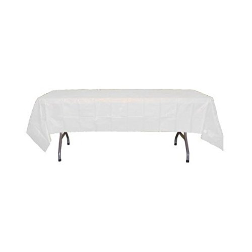 White Plastic Table Cover (54in. W. x 108in. L) - 1