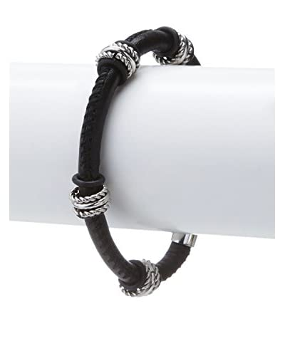 Stephen Oliver Black Leather & Silver Link Bracelet