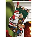Bucilla 18-Inch Christmas Stocking Felt Applique Kit, 86106 Christmas Cookies