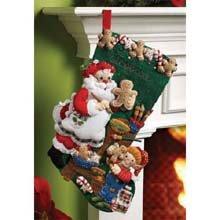 Bucilla 18-Inch Christmas Stocking Felt Applique Kit, Christmas Cookies