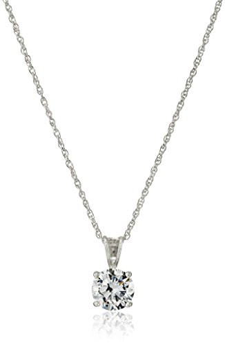 Platinum Plated Sterling Silver Round Cut 8mm Cubic Zirconia Pendant Necklace, 18″