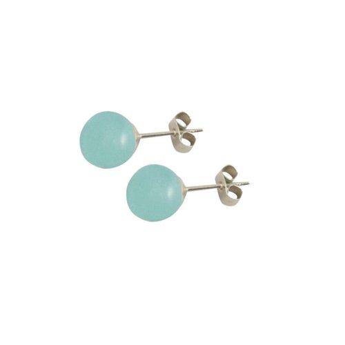 Solo Aquamarine Gemstone Stud Sterling Silver Pierced Earrings