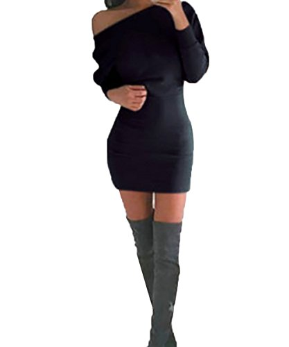 ISASSY Women's Off Shoulder Long Sleeve Jumper Bodycon Bandage Party Evening Slim Sweater Mini Dress Shirt Top