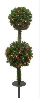 4' Indoor Outdoor Pre-Lit Christmas Topiary Double Ball Stake Tree #H62976