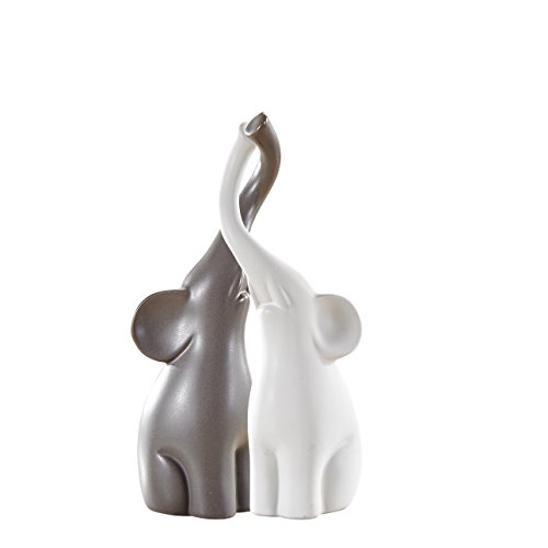 Pure.Lifestyle - Couple Elephants(Set of 2) - Two Colors Ceramic Decoration Animals Figurine Porcelain Sculptures Statues Crafts Wedding Gifts Welcome Home Warming Christmas Gift Birthday Presents