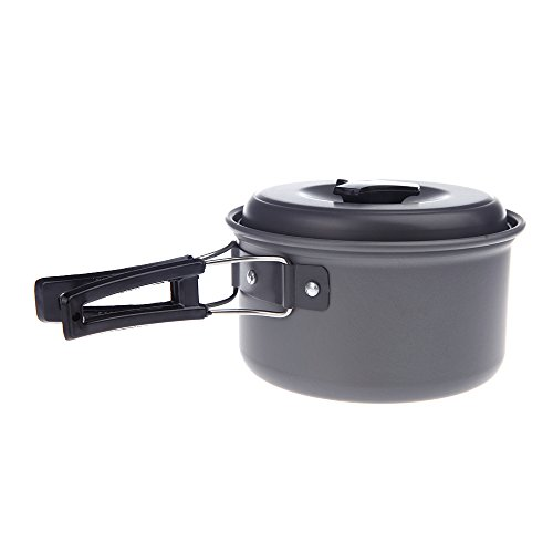 Docooler® Portable Outdoor Cooking Camping Pot Anodised Aluminum Foldable Handles Non-stick Cookware Utensil Picnic Hiking (Aluminum Cooking compare prices)