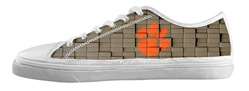 DONGMEN Classic NCAA Nonslip Clemson Tigers Lady's Canvas Shoes Lace-up Low-top Sneakers Fashion Running Shoes