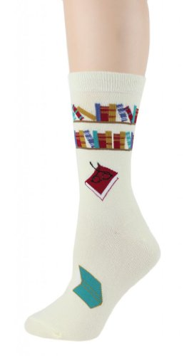 Foot Traffic Women's Reading Books Socks Size 4-10 Cream