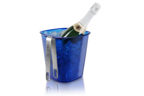 Metrokane Rabbit Ice Bucket With Stainless Steel Tongs, Blue front-84151