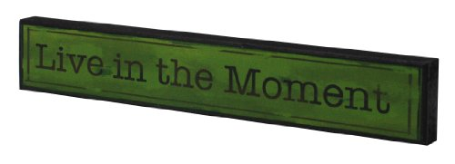 Capri PH41702-2 Wooden Wall Plaque with Vintage Look Finish, Live in The Moment, 2 by 12-Inch