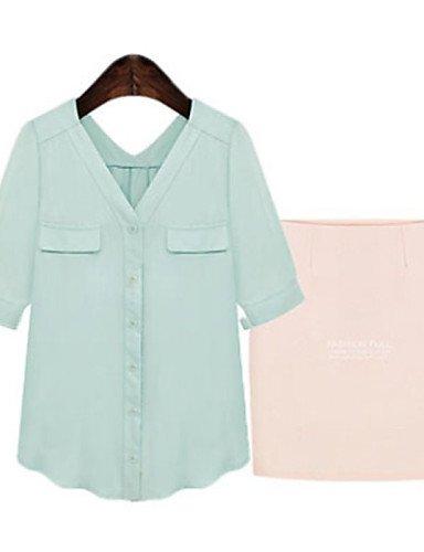 ZXR-femmes-de-Massif-BlancVert-pour-femme-col-chemise--courtes-sleeveplus-Taille