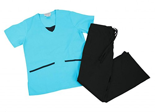NATURAL UNIFORMS Womens Scrub Set Medical Scrub Top and Pants L Water Blue Set / Black Trim (Natural Uniforms Scrubs compare prices)