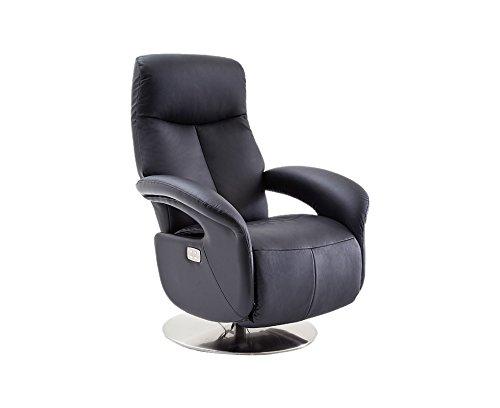 Robas Lund 64047SE5 Relaxsessel ROMAN mit Fußstütze, schwarz, Tellerfuß Edelstahl-Optik, elektrisch verstellbar-Bezug Kontaktflächen Rindsleder, circa 80 x 85-159 x 110-84 cm