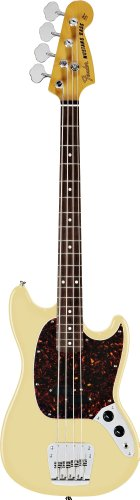 Fender Mustang Electric Bass Guitar, Rosewood Fretboard, 4-Ply Tortoise Shell Pickguard - Vintage White