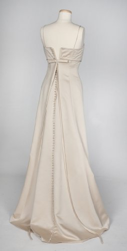 Champagne Satin Wedding Gown with Beaded Bodice