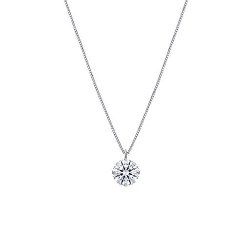 [ジュエリーキャッスル] Jewelry Castle K18 ネックレス スワロフスキージルコニア 4本爪 ネックレス (WG-04) ホワイトゴールド
