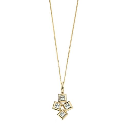9ct Yellow Gold Squares Pendant and Necklace with Genuine White Topaz Gemstones (Includes Diamond Cut Curb Chain: 18