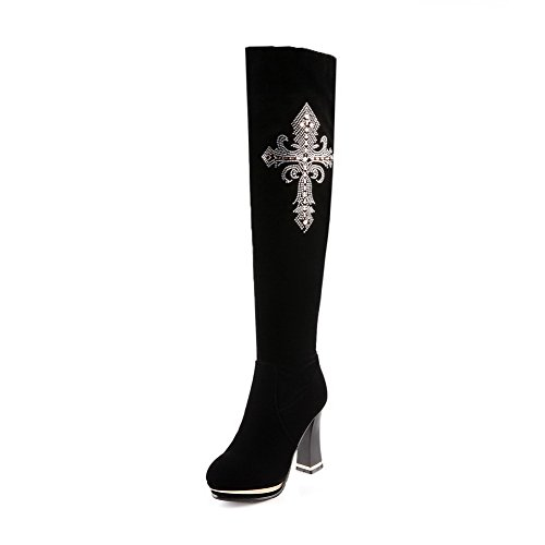 Voguezone009 Ladys Closed Round Toe High Heel Imitated Suede Frosted Solid Boots With Glass Diamond, Black, 35