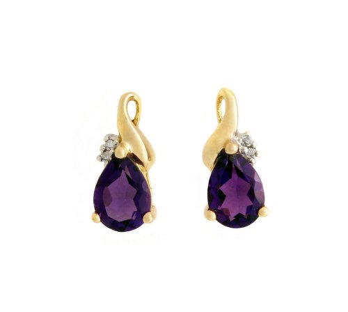 0.013 Carat Diamond with Amethyst Stud Earrings in 9ct Yellow Gold