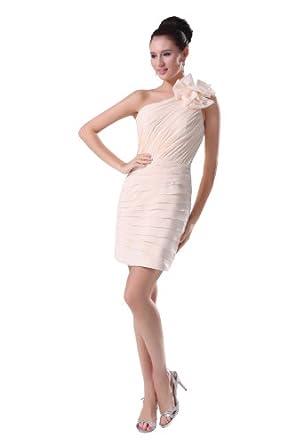 herafa p31661-2 Robes De Cocktail Style Romantique Col asymétrique Sans manche Ruché Décoré À La Main Avec Des Fleurs Au genou Gaine Blanc Cassé