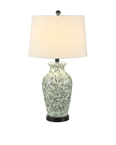 Fox Hill Trading Ceramic Flora Table Lamp, Blue/White