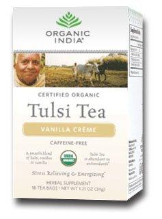 Organic India Tulsi Vanilla Crème Tea 18 Bags Per Box 2 Boxes