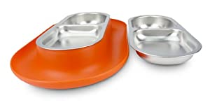 Hepper Nomnom Modern Cat and Dog Dish with Stainless Steel Bowls. Wide Tray to Keep Floors Clean and Ants Out of the Food! (Orange)