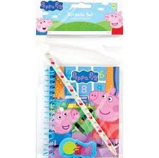 PEPPA PIG SRCIBBLE SET NOTEPAD PENCIL & ERASER