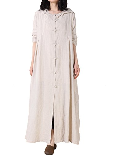 Mordenmiss Women's Long Sleeve Hooded Frog Button Maxi Coat