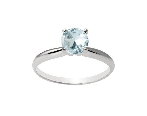 10k White Gold 6mm Round Aquamarine Gemstone Solitaire Ring (0.80 ct), Size 7