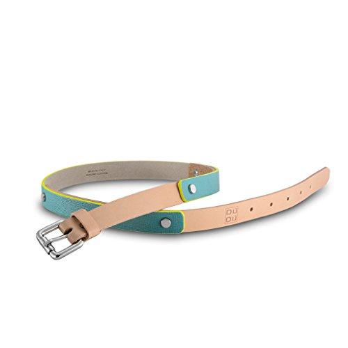 Cintura da donna Made in Italy di pelle Saffiano con rivetti DUDU Turchese