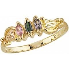 Marquise Black Hills Gold and Sterling Silver 2-6 Genuine Stones Mothers Ring