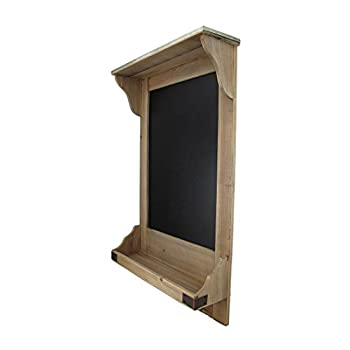 Vintage Style Wooden Wall Shelf w/Hooks and Chalkboard