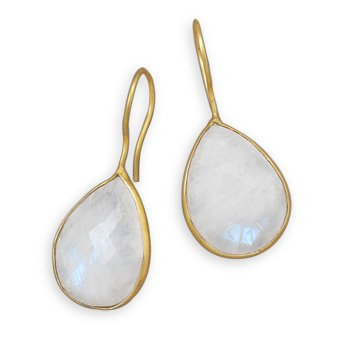 14 Karat Gold Plated Rainbow Moonstone Earrings