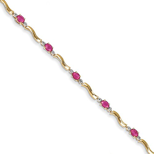 14k Yellow Gold Diamond & African Ruby Bracelet Carat Wt- 0.1ct. Gem Wt- 2.25ct