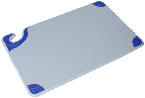 "San Jamar Cbg121812 Saf-T-Grip Co-Polymer Standard Size Cutting Board, 18"" Length X 12"" Width X 1/2"" Thick, Blue back-515341"