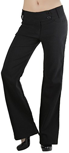 ToBeInStyle Women's High Waist Boot-Cut Dress Pants - Black - Large