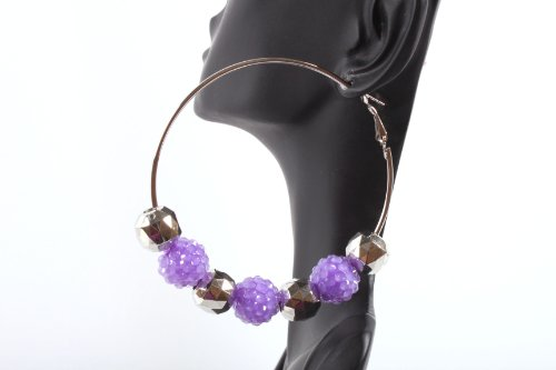 Neon Purple Shamballah 2.5 Inch Hoop Earrings with 3 Disco Balls and 4 Plated Balls Basketball Mob Wives Iced Out Lady Gaga Poparazzi
