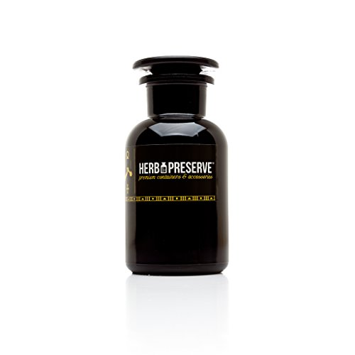 Herb Preserve Capacity Apothecary Jar Ultraviolet All Glass Refillable Stash, .5 oz. (250ml), Black (Herb Preserve Stash Jars compare prices)