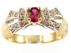 14k Yellow Gold White Rhodium, Classic Design Ring with Lab Created Oval Shape Red Colored Stone