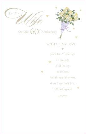 Wife 60th Anniversary (Diamond), Anniversary Greetings Card